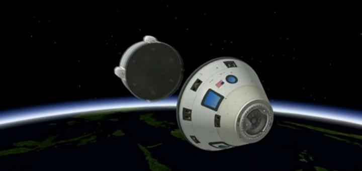 Nell'immagine artistica, la capsula CST-100 sgancia il modulo di servizio prima di rientrare nell'atmosfera. (C) Boeing.