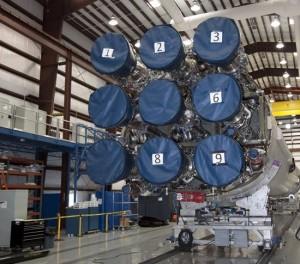 Disposizione dei motori del primo stadio del vettore Falcon9
