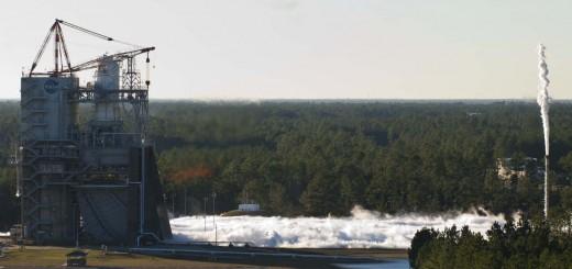 Test di accensione dell'unità powerpack del motore J2-X. Fonte: NASA/SSC
