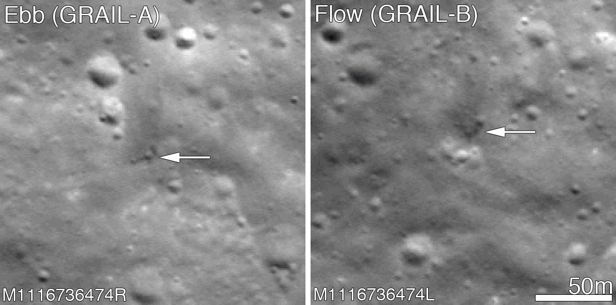 La stessa zona ripresa dopo l'impatto delle sonde GRAIL. (Credit: NASA/GSFC/Arizona State University).