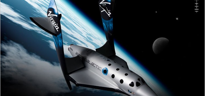 Lo SpaceShipTwo con il feathering system attivato. Credits: Virgin Galactic