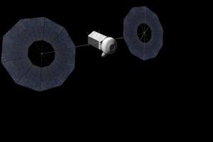 Concept del veicolo per la cattura dell'asteroide, prima del dispiegamento del sistema di cattura. (c) NASA