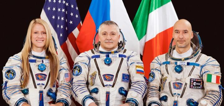 L'equipaggio della Soyuz TMA-09M, Expedition 36/37: Karen Nyberg (NASA), Fyodor Yurchikhin (RKA) e Luca Parmitano (ESA). Fonte: Gagarin Cosmonaut Training Center