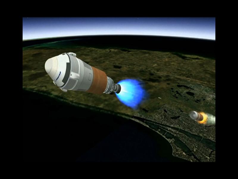 L'upper stage Centaur entra in azione non appena terminata la spinta del primo stadio dell'Atlas V. Credit: Boeing
