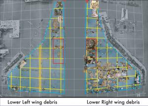 I detriti delle ali dello shuttle Columbia. Si noti la quasi totale mancanza di parti dell'ala sinistra, la prima a cedere per le alte temperature - Credit: NASA/CAIB Report - Volume 1 pag. 72