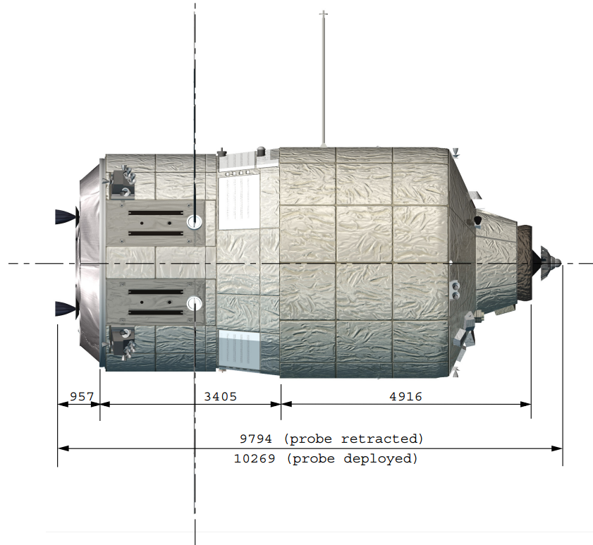 Fig. 1 - Le misure di ATV, a pannelli solari retratti - (C) ERASMUS User Centre and Communication Office - Directorate of Human Spaceflight, Microgravity and Exploration Programmes