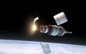 un immagine che rappresenta la separazione dei pannelli una volta raggiunta la quota di 170 km (C) space.com