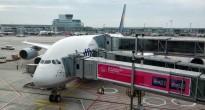 L'A380 per Houston in attesa all'aeroporto di Francoforte su cui sta per imbarcarsi Samantha Cristoforetti il 28/07/2013. Fonte: Samantha Cristoforetti