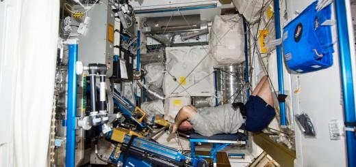 Kevin Ford si allena sulla macchina ARED della ISS. Fonte: NASA
