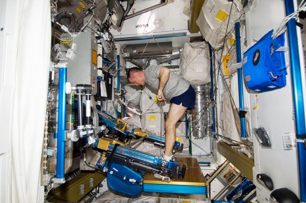 Il cosmonauta Tolya Ivanishin si allena sulla macchina ARED della ISS. Fonte: NASA