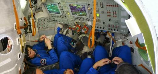 Samantha Cristoforetti e l'equipaggio della Soyuz TMA-15M nel simulatore a Star City. Fonte: Samantha Cristoforetti