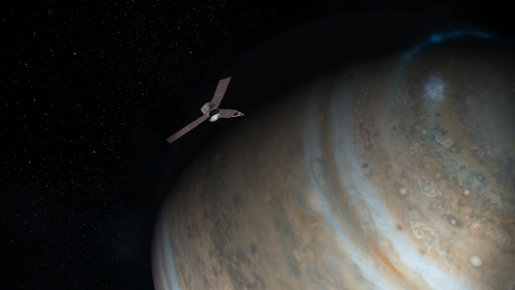 Juno in prossimità di uno dei poi gioviani. Image credit: NASA/JPL-Caltech