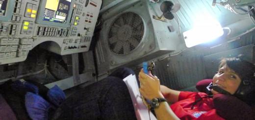 Samantha Cristoforetti nella centrifuga di Star City in una simulazione di rientro manuale. Fonte: Samantha Cristoforetti