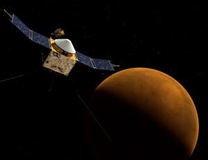 Rappresentazione artistica della sonda MAVEN in orbita attorno a Marte. Credits: NASA.