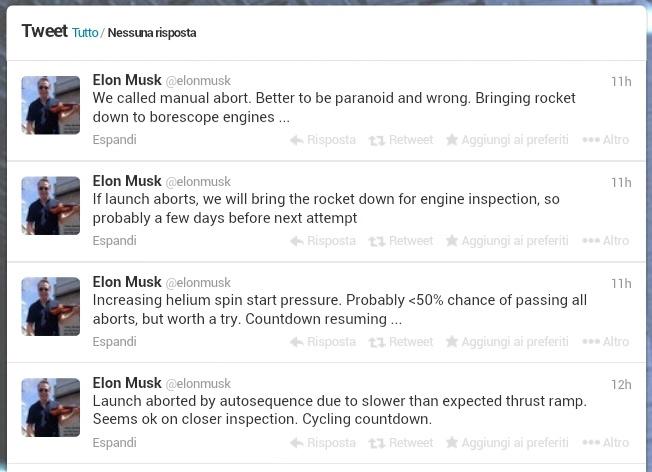 I tweet di @elonmusk a commento del tentativo di lancio del 28 novembre.
