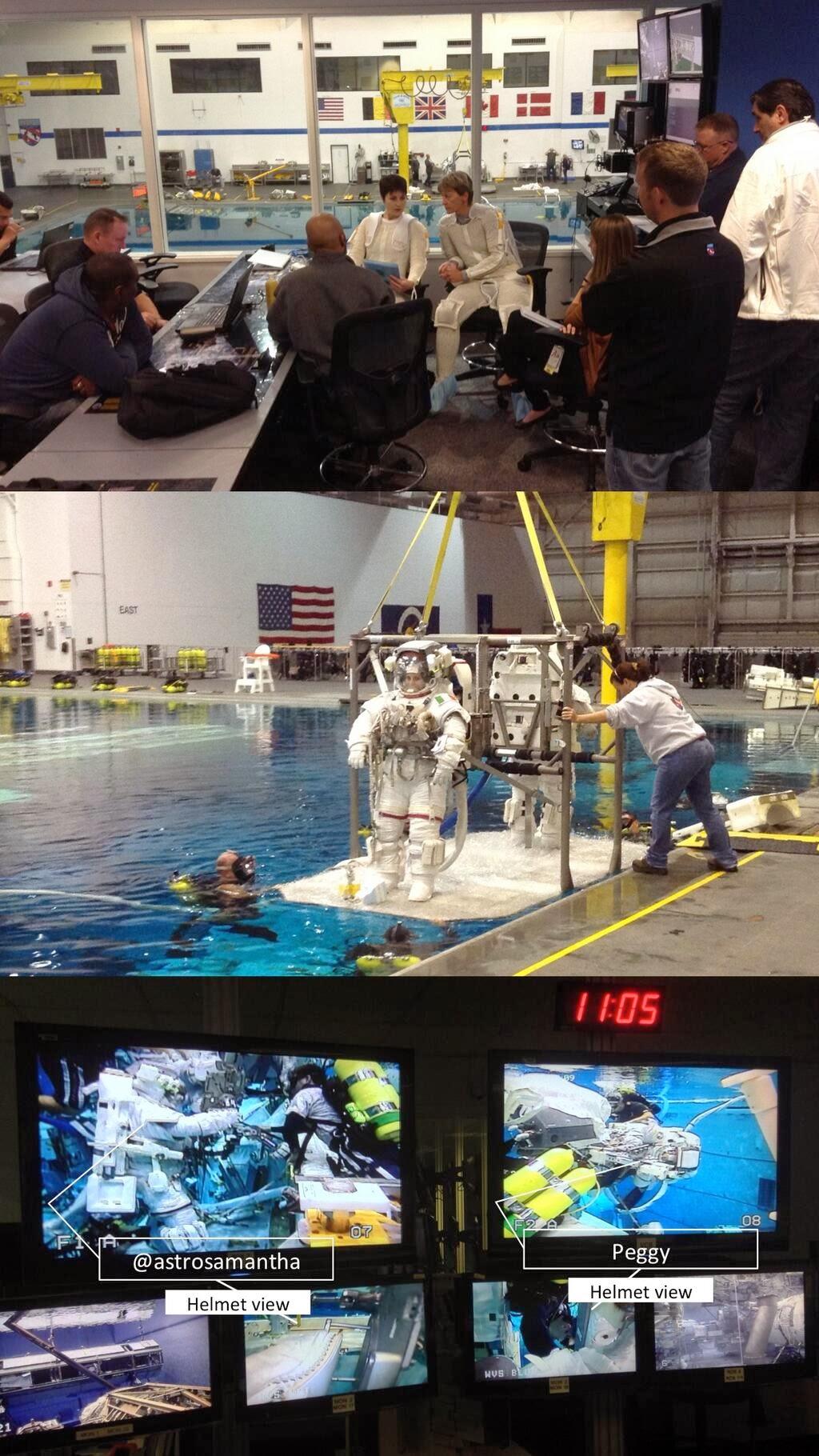 Fasi di una simulazione di EVA al NBL di Samantha Cristoforetti e Peggy Whitson. Fonte: Lionel Ferra