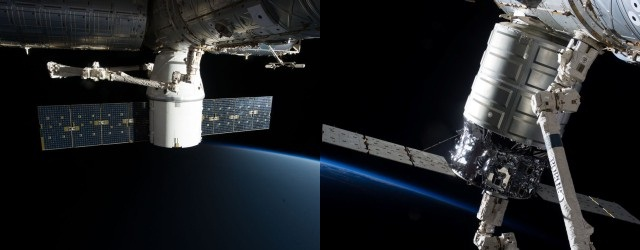 Dragon e Cygnus attraccate alla ISS. Credit: NASA.