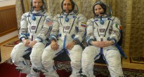 L'equipaggio della Soyuz TMA-15M in tuta Sokol per una simulazione a Star City. Fonte: Gagarin Cosmonaut Training Center