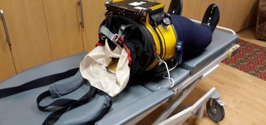 L'equipaggiamento russo Chibis-M per riadattare il sistema cardiovascolare alla gravità dopo l'assenza di peso. Fonte: Samantha Cristoforetti
