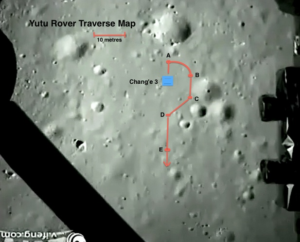 Gli spostamenti del rover Yutu unei primi giorni dopo l'allunaggio. Credit: @SpaceAlmanac.