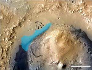 Illustrazione della possibile estensione del lago una volta presente nel cratere Gale. (c) NASA/JPL-Caltech/MSSS