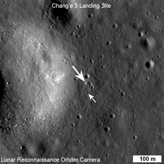 Il sito di atterraggi di Chang'e 3 riprso dalla sonda LRO. Credit: NASA/GSFC/Arizona State University.