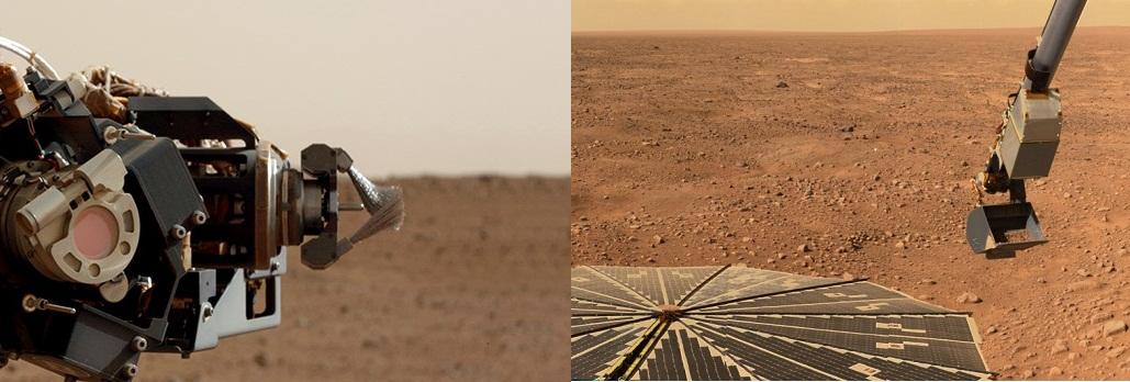 """A sin. il Dust Removal Tool a bordo di MSL curiosity, a destra il """"Phoenix Scoop"""". Immagini (C) NASA"""