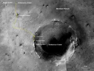 La strada percorsa da Opportunity nei suoi 10 anni di missione - NASA/JPL-Caltech/MSSS/NMMNHS