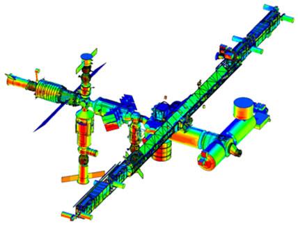 Un modello grafico della ISS che evidenzia le zone maggiormente soggette ad impatto con MMOD di diametro < di 1cm