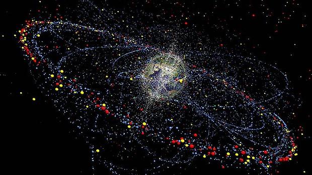 Simulazione della distribuzione e movimenti dei detriti spaziali  (C) TU Braunschweig/ESA/AP