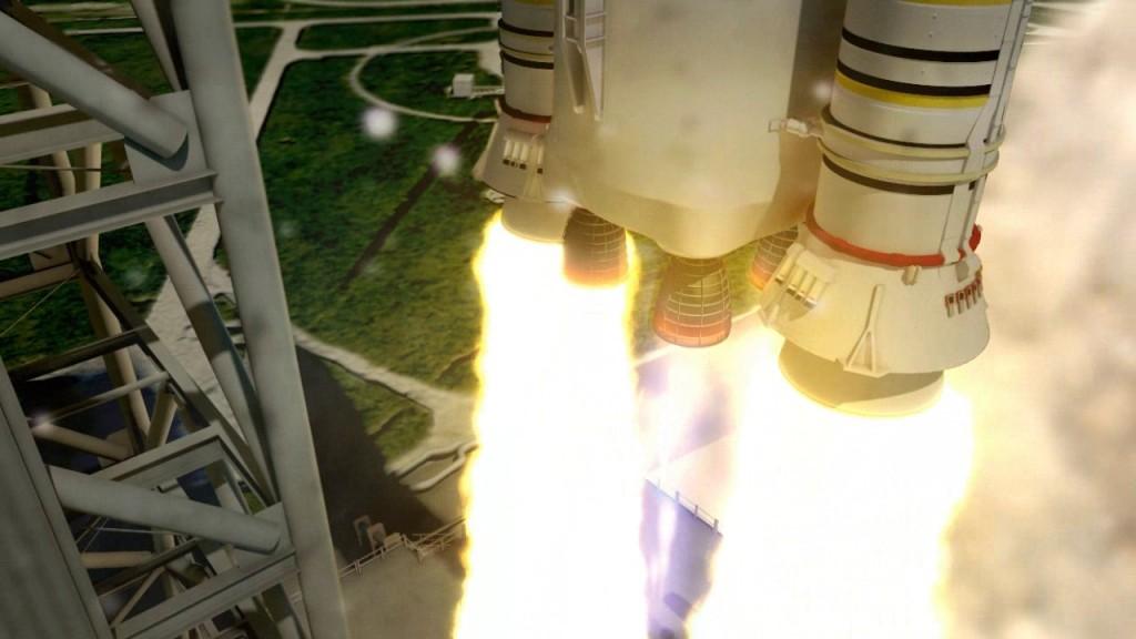 Rendering del decollo dello SLS. Credit: NASA/MSFC.