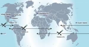 I tre satelliti TDRS usati principalmente dalla stazione coprono essenzialmente l'intera orbita. Questo richiede due antenne a terra, una a White Sands e una sull'isola di Guam. Noi riceviamo i dati attraverso Houston o Huntsville  Credit: DLR (CC-BY 3.0).