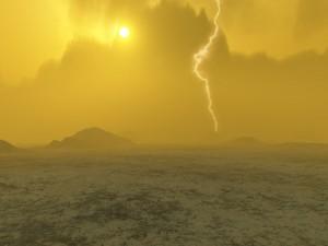 Rappresentazione artistica dei fulmini su Venere. (c) J. Whatmore