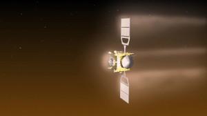Visualizzazione di Venus Express durante una manovra di aerobraking su Venere. Credit: ESA–C. Carreau