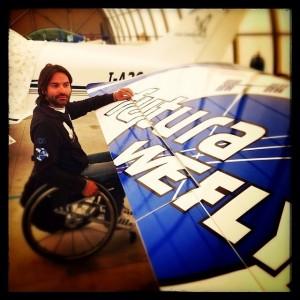 Marco Cherubini di WeFly! Team con il suo aereo. Credit: WeFly! Team