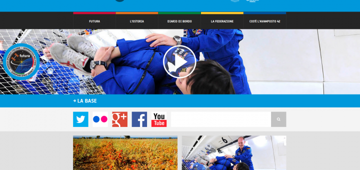la home page del sito Avamposto 42 di Futura. Credit: ESA/ASI
