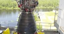 Il motore RS-25 installato per i test allo Stennis Space Center (NASA)