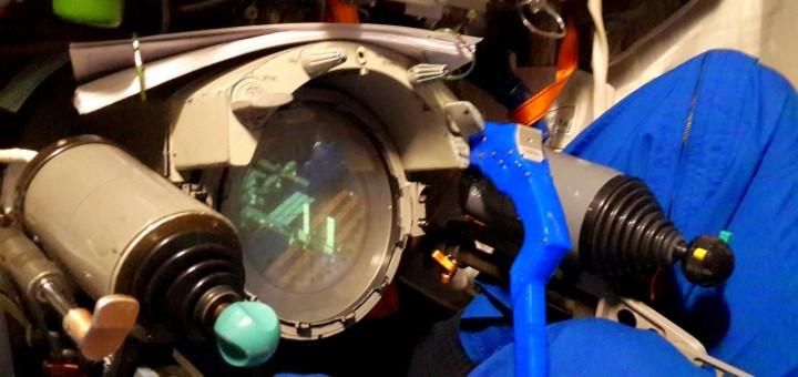 La vista dal periscopio in una simulazione dell'equipaggio della Soyuz TMA-15M. Credit: Samantha Cristoforetti