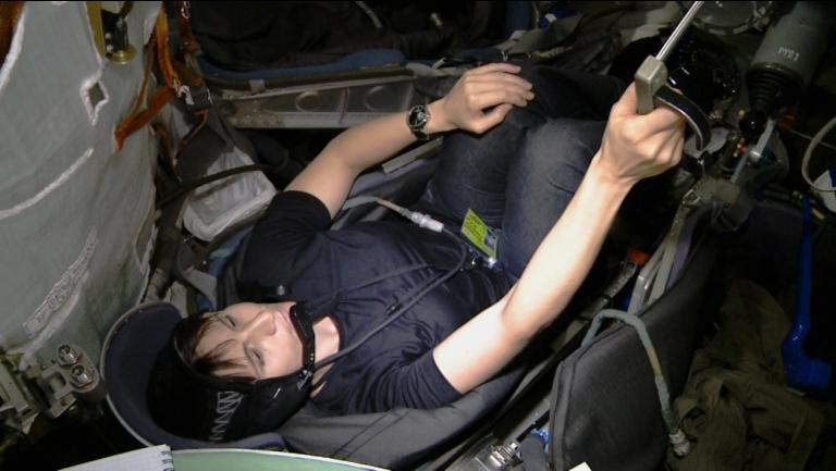 Samantha Cristoforetti nel simulatore Soyuz. Credit: Samantha Cristoforetti