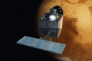"""Mars Orbiter Mission - India - ArtistsConcept"" di Nesnad - Opera propria. Con licenza Creative Commons Attribution-Share Alike 3.0-2.5-2.0-1.0 tramite Wikimedia Commons - http://commons.wikimedia.org/wiki/File:Mars_Orbiter_Mission_-_India_-_ArtistsConcept.jpg#mediaviewer/File:Mars_Orbiter_Mission_-_India_-_ArtistsConcept.jpg"