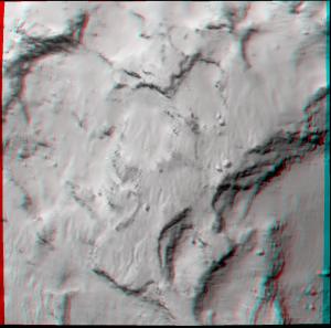 Il sito prescelto per la discesa di Philae in 3D (necessari gli occhialini rosso/ciano) Credits: ESA/Rosetta/MPS for OSIRIS Team MPS/UPD/LAM/IAA/SSO/INTA/UPM/DASP/IDA
