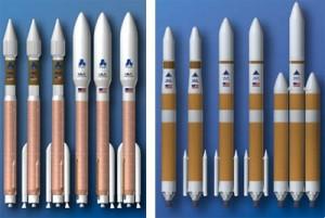 La famiglia degli Atlas (sinistra) e Delta (destra) che compongono gli EELV di ULA dedicati ai vari tagli di carico. Credit: ULA