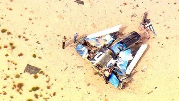 Foto dei resti di SpaceShipTwo