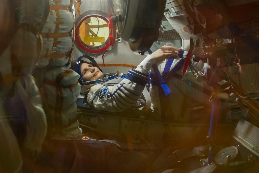 Nella Soyuz TMA-15M durante un test a Baikonur. Credit: GCTC