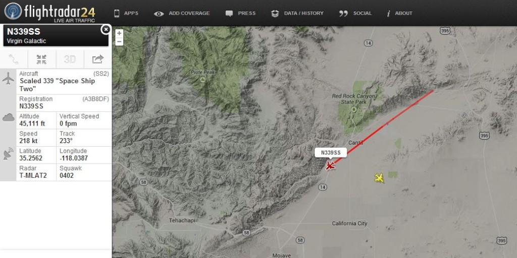 Dal sito Flightradar24.com, il percorso dello SpaceShipTwo (numero di registrazione N339SS)  dal momento dell'accensione del trasponder al momento dell'incidente il 31/10/2014. Image credit: Flightradar24.com.