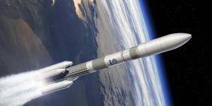 Rappresentazione artistica di un Ariane 6 in configurazione con 4 booster (A64) Credits: ESA–D. Ducros, 2014