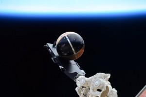 Il satellite SpinSat prima del suo rilascio dal lanciatore Cyclops all'esterno della ISS Credit: NASA