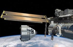 Rappresentazione artistica della capsula CST-100 di Boeing che attracca alla ISS. (C) Boeing