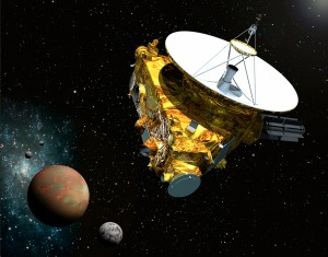 Rappresentazione artistica dell'arrivo di New Horizons su Plutone. Credit: Johns Hopkins University Applied Physics Laboratory/Southwest Research Institute (JHUAPL/SwRI)
