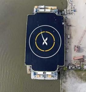La nuova piattaforma di atterraggio di SpaceX. Credit: Elon Musk (Twitter @elonmusk)